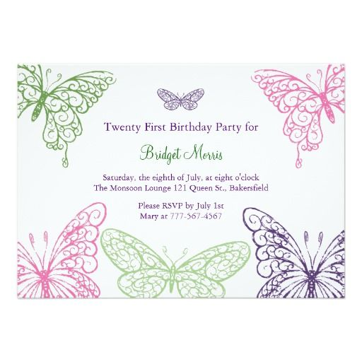 Colorful fluttering butterflies 21st birthday card 21st birthday colorful fluttering butterflies 21st birthday 5x7 paper invitation card stopboris Images