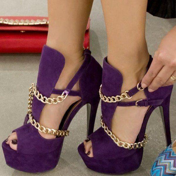 fbe7b2aff26b Women s Purple Gold Chains Platform Sandals Peep Toe Heels Pumps image 1