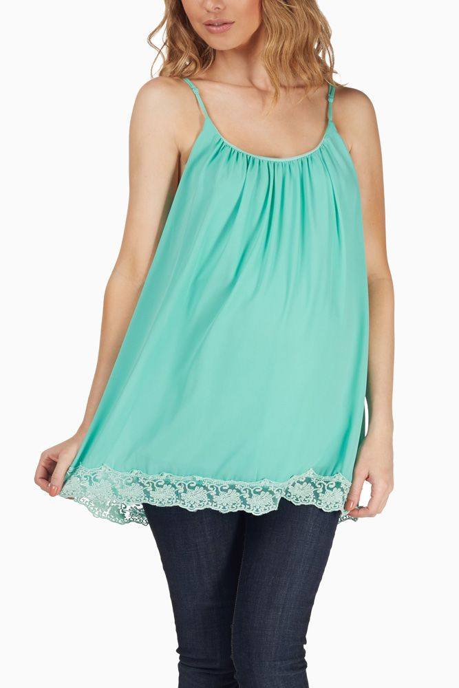 3523e21d15deb7 Mint-Green-Crochet-Trim-Chiffon-Maternity-Tunic #maternity #fashion ...
