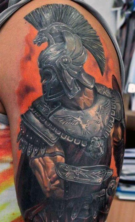 Orange Greek Inspired Tattoos For Men On Arm