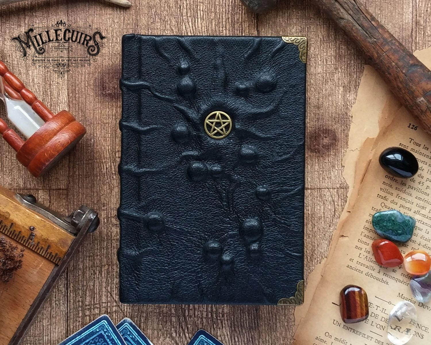 Handmade Wicca Journal, Handcraft Leather Wiccan Book, Pagan Pentacle Black  Notebook, Witch Witchcraft Pentagram Diary, Magic Sketchbook