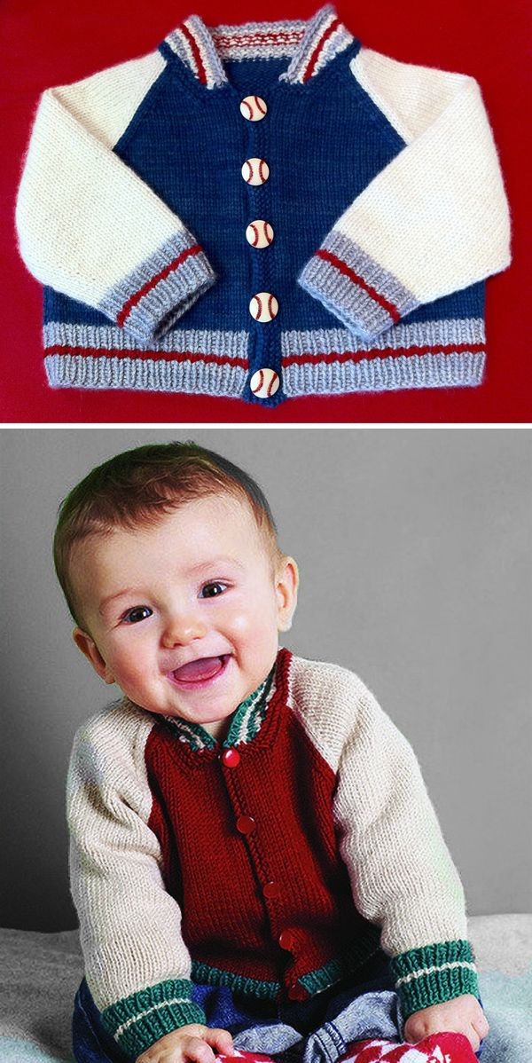 Free Knitting Pattern for Baby Baseball Jacket - Long-sleeved baby ...