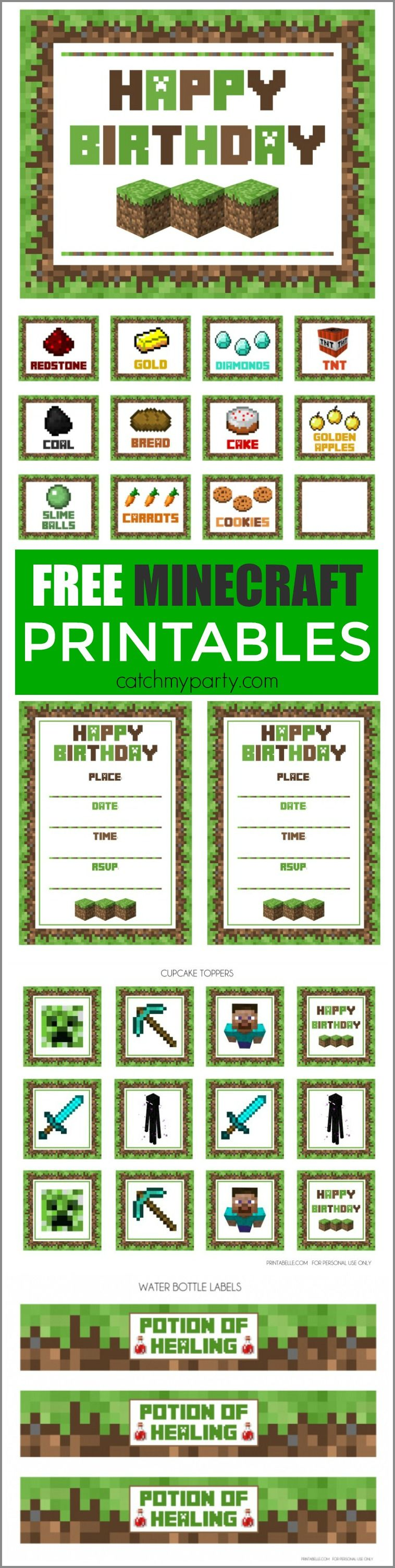 Free Minecraft Printables Party Printables Birthdays And Free