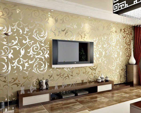 How To Choose Living Room Wallpapers Tips Ideas Extravagant Gold Wallpaper Modern Furniture