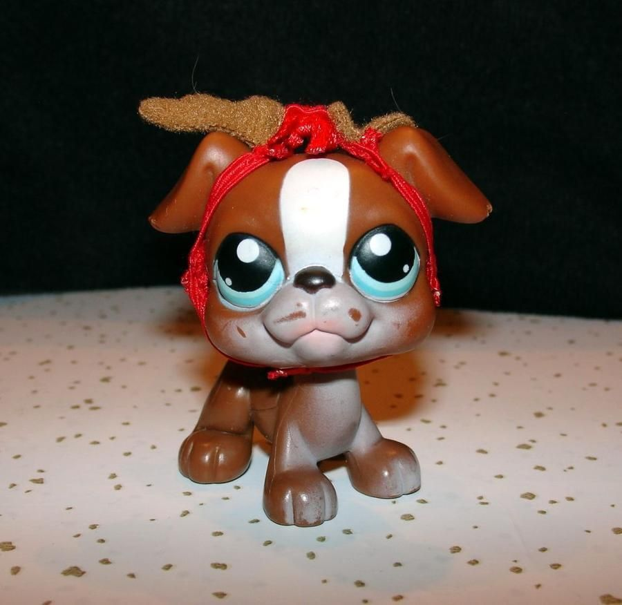 Retired Lps Brown N White Boxer 83 Blue Eyes Reindeer Antlers