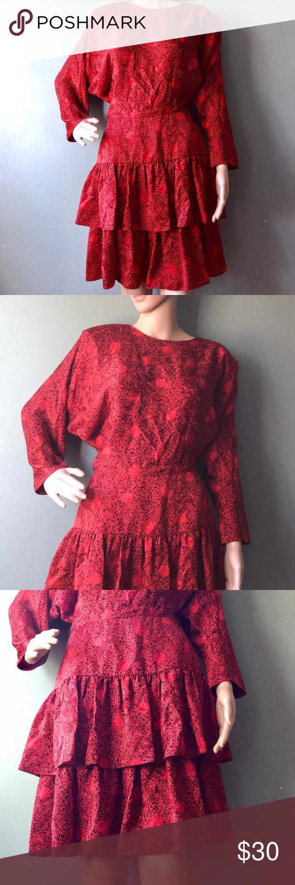 Vintage 80s Silk Ruffle Dress Dresses Ruffle Dress Vintage Dresses [ 1740 x 580 Pixel ]