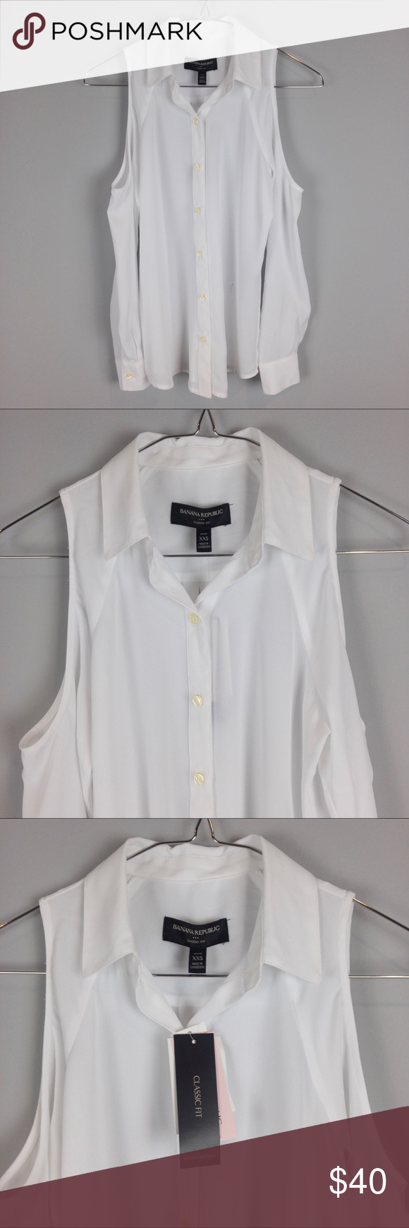 60f51367c3558 Banana Republic Cold Shoulder Blouse White NWT Cold Shoulder Button Up Long  Sleeve Blouse White.