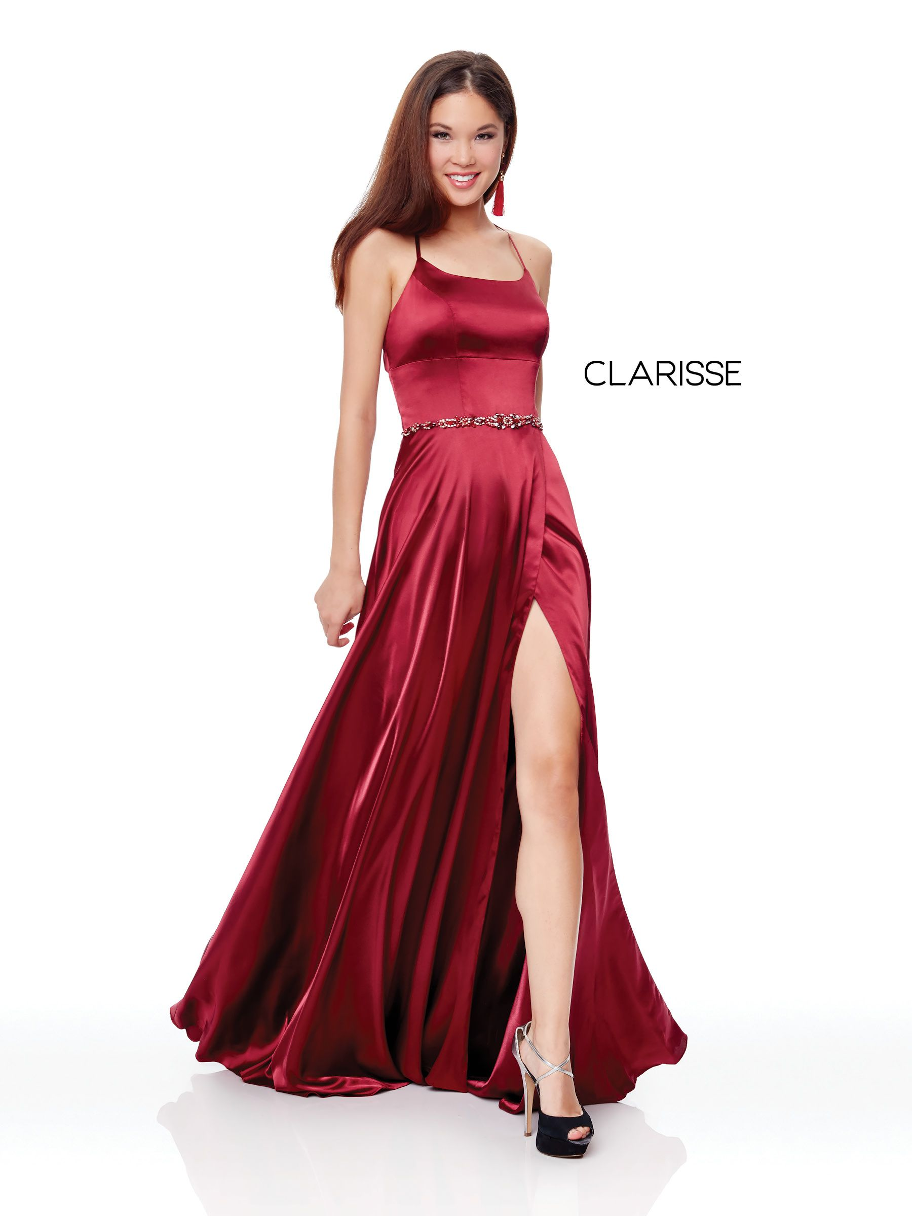 3712 - Wine charmeuse dress | Red, Marsala,