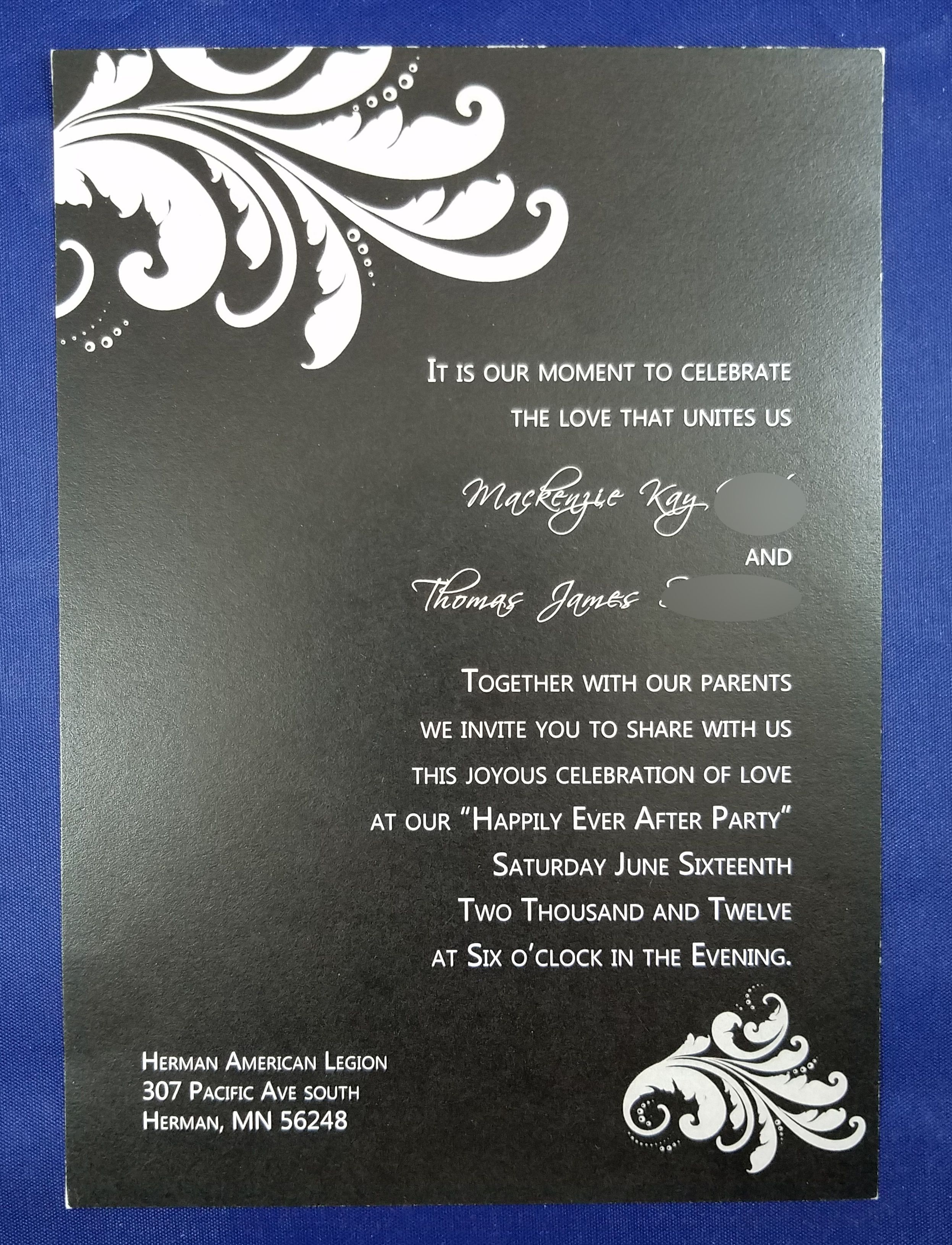 Black n white swirl leaves wedding invite