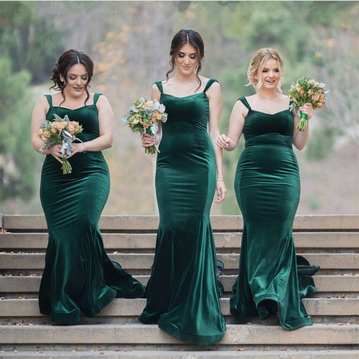 Sweetheart bridesmaid dresses long velvet formal evening gowns