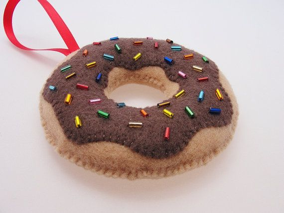 Christmas Chocolate Diet Donut Ornament By Daniellelondon Handmade Felt Ornament Felt Christmas Ornaments Handmade Felt