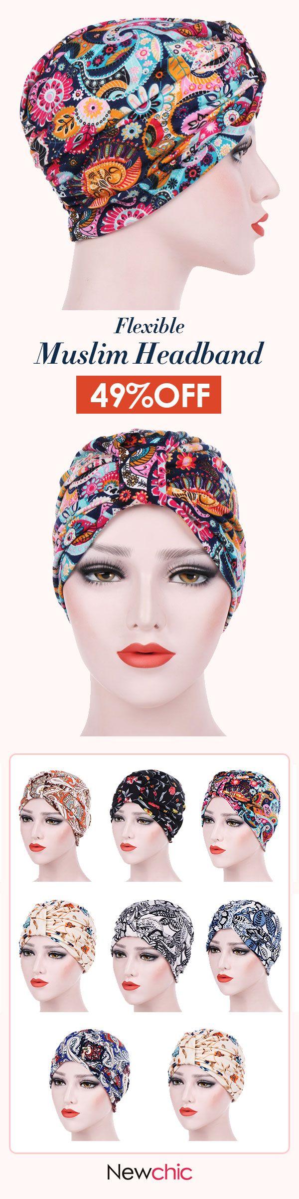 US 7.30 Womens Farmhouse Style Floral Cotton Beanie Hats Casual Flexible  Caps Muslim Headband  floral  cotton  soft  beanie  fashion  turban cf7ee660baa0