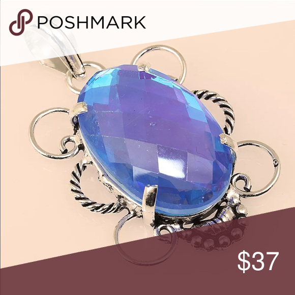 """✨925 Sterling inlay Mystic Topaz Gemstone Pendant✨ Beautifully Handcrafted pendant, Triple Sterling plate. """" Brighton Quality """" you'll be in love with this piece it has such a beautiful sparkle ✨ Brighton Jewelry Necklaces"""