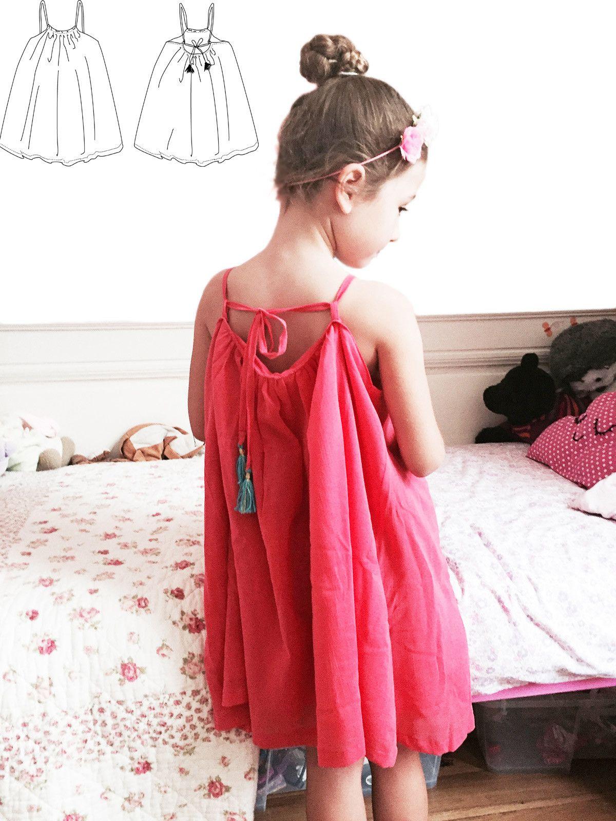 Formentera Patron de Couture. Enfant Fille. Robe dos nu plein été ...