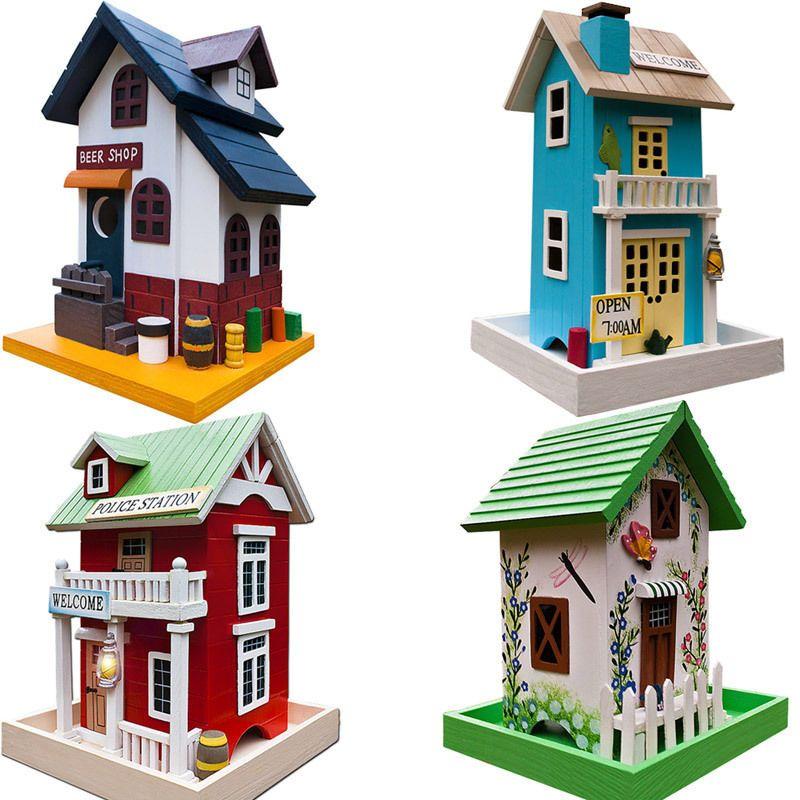 vogelhaus holz nistkasten vogelfutterhaus vogelh uschen vogel nisthaus klappdach ebay. Black Bedroom Furniture Sets. Home Design Ideas