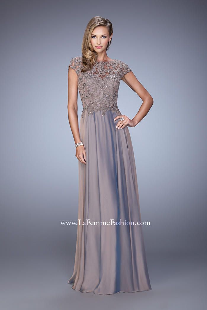 La Femme Evening 21627 Charming chiffon evening gown with intricate ...