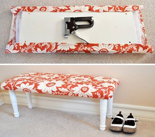 Easy Bench DIY- a piece of wood, 4 legs (all of which are sold at home depot for around $5)- padding, and then staple pretty fabric. Awesome!