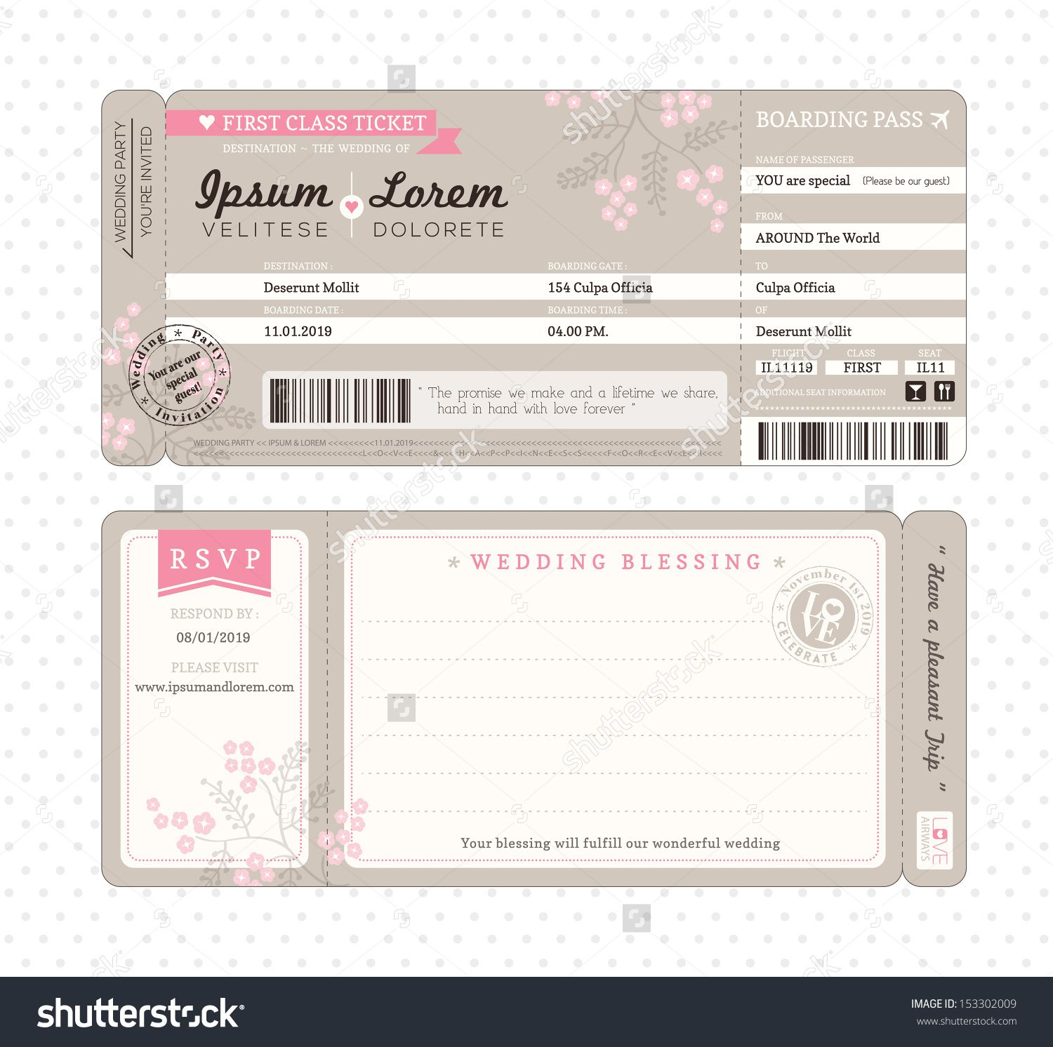 Boarding Pass Ticket Wedding Invitation Template – Airline Ticket Template Free