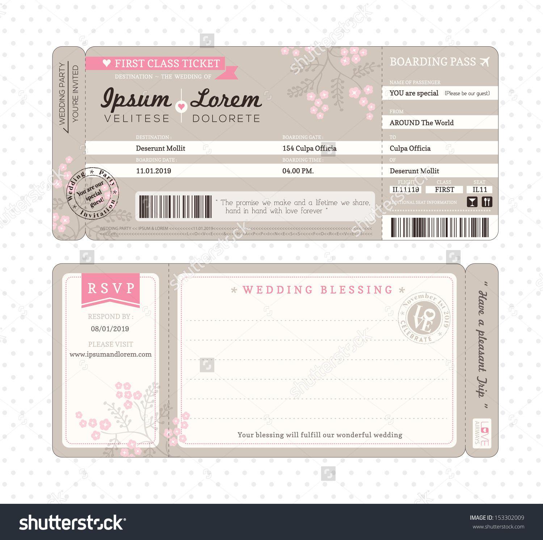 Boarding Pass Ticket Wedding Invitation Template | Consigliati ...