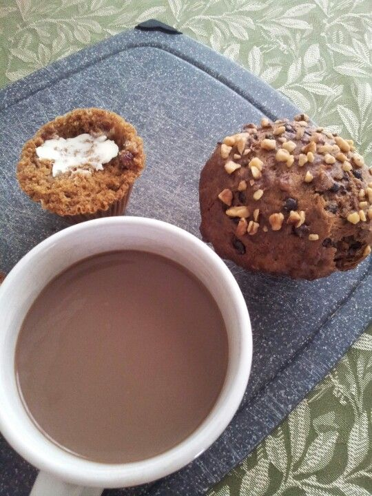 Mmmmm muffins & mocha! fresh out of the oven, Jj bean  Choc chip zucchini and pumpkin apple with Choc soy latte