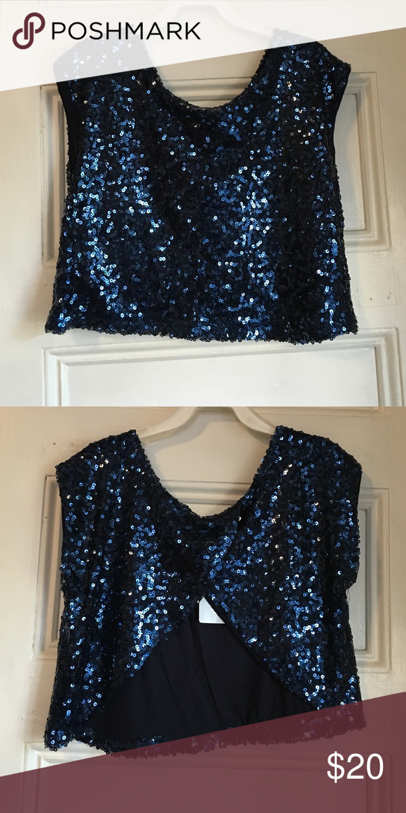 795882921401a Navy Blue Sequin Crop Top Navy blue sequin crop top with an open back.  Fully lined. Never worn