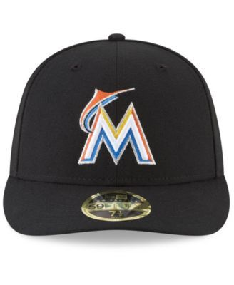 new product ac390 d9d53 New Era Miami Marlins Low Profile Ac Performance 59FIFTY Fitted Cap - Black  7 1 2