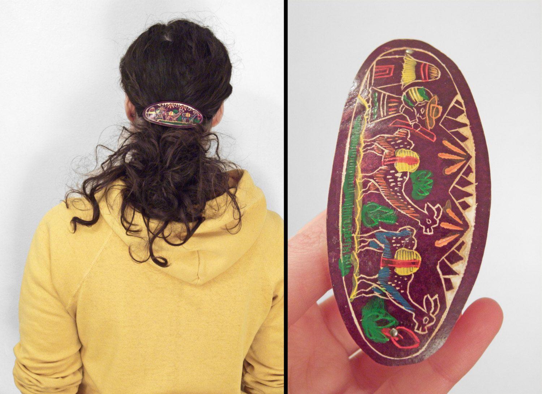 Cutest Hair Accessory...Bar(rette) None!  PERUVIAN Wood Barrette Incan Folk Art Llama Hair Accessories by JeezumCrowVintage on Etsy