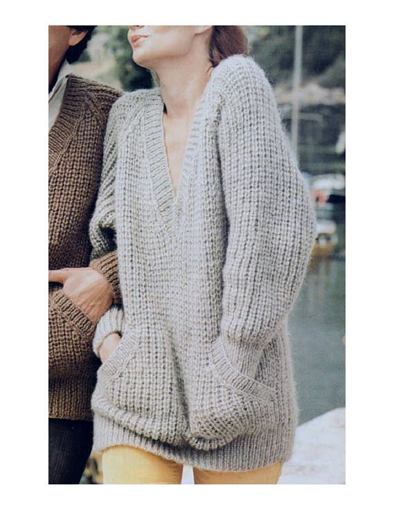 f16a52e94304 PDF Immediate Digital Download Row by Row Knitting Pattern to make Ladies  Oversized Chunky Long Sleeve V Neck Sweater with Pockets Bust 34-42 Chunky  Yarn I ...