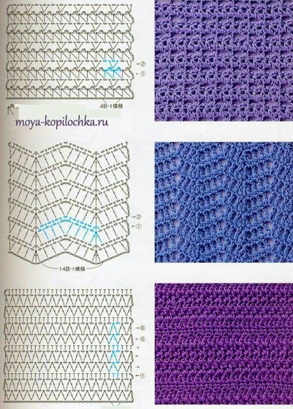 Pin de Yui Sut en แพทเทิร์น | Pinterest | Puntos crochet, Puntos y ...