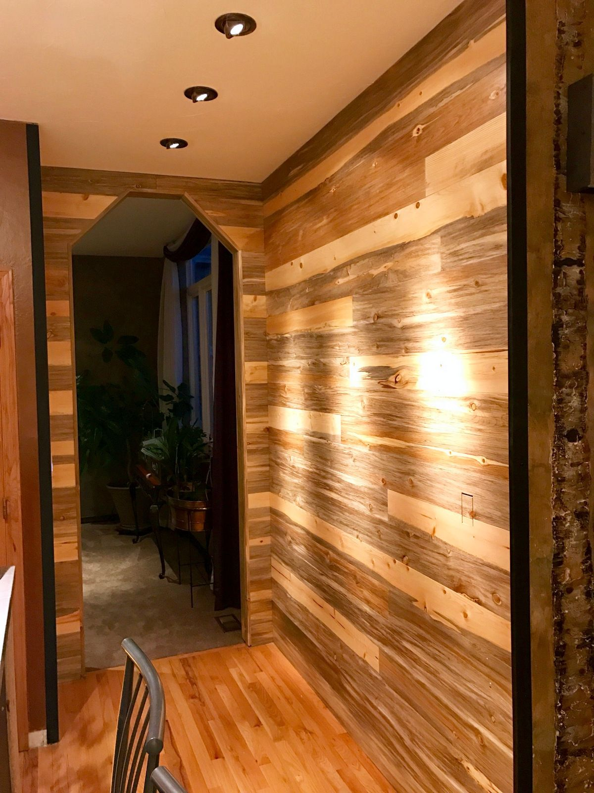 Beautiful Small Accent Wall Using Our Beetle Kill Pine T G Wall Paneling Sent In From A Colorado Custo Reclaimed Wood Floors Reclaimed Wood Wall Reclaimed Wood