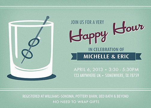Happy Hour Wedding Shower Invitation Printable On Etsy - Birthday invitation wording happy hour