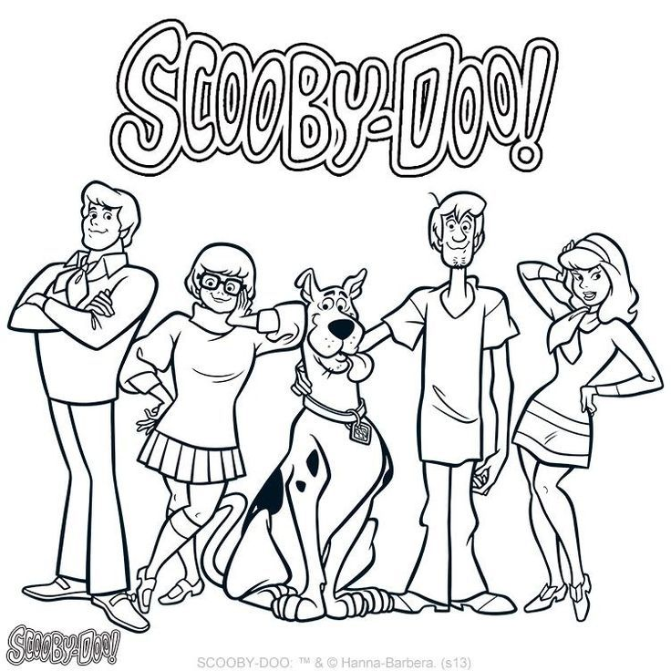 scooby doo main characters coloring page - Scooby Doo Pictures To Colour