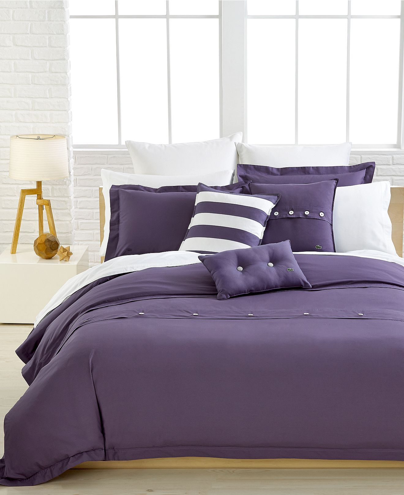 Lacoste Bedding, Solid Purple Brushed Twill Comforter and