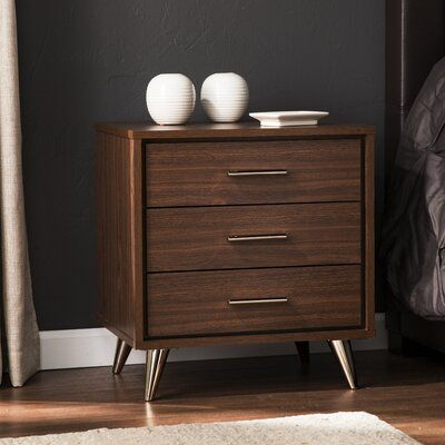 Orren Ellis Blouin 3 Drawer Nightstand | Wayfair