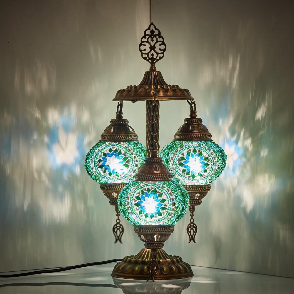 Stunning Turkish Moroccan Mosaic Bohemian Table Lamp 3 Globes 19