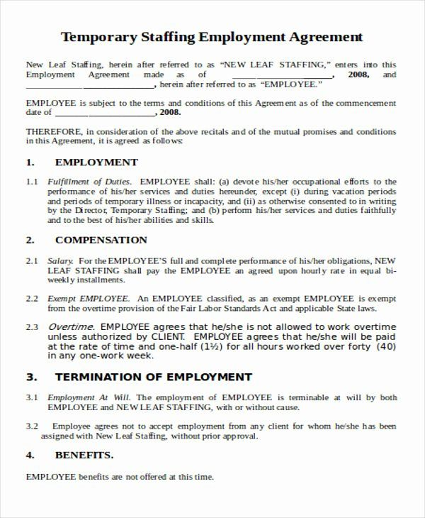 Temporary Employment Contract Template Beautiful 36 Agreement Templates In Word Contract Template Separation Agreement Template Treatment Plan Template