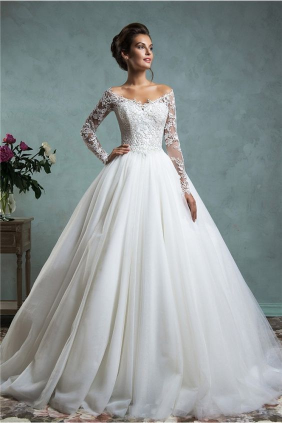 Y Ball Gown Off The Shoulder Tulle Lace Wedding Dress With Long Sleeves