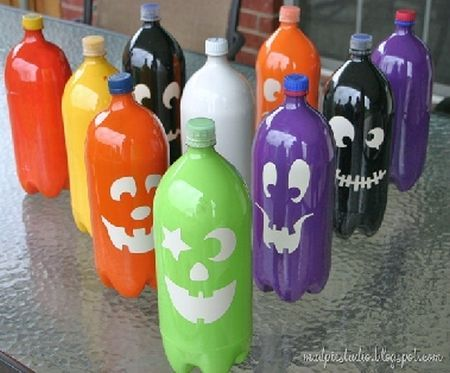 entertain kids by rolling a pumpkin into decorative plastic bottles see more halloween kids games - Halloween Games For Kids Party At School