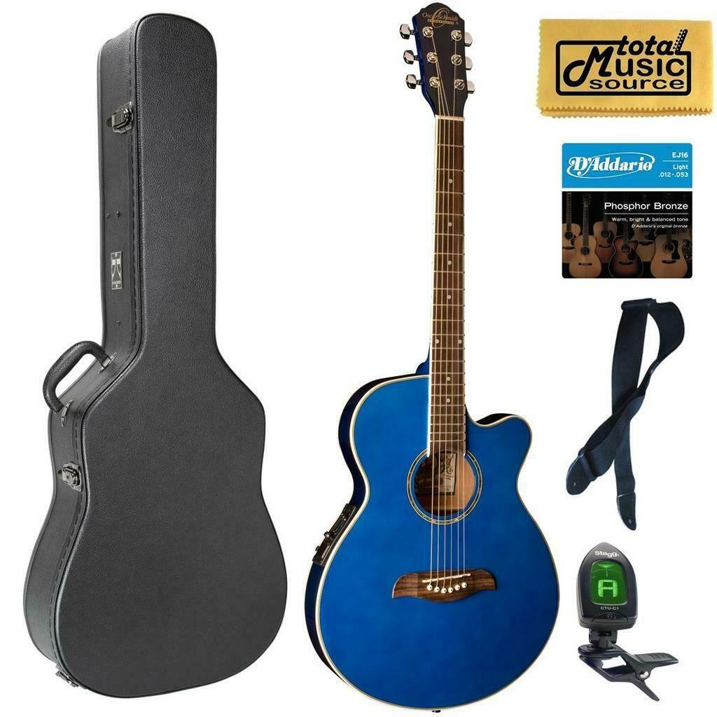 Oscar Schmidt Og8cetbl Folk Acoustic Electric Guitar Blue Case Bundle Og8cetb 852688899014 Ebay In 2020 Acoustic Electric Guitar Acoustic Guitar