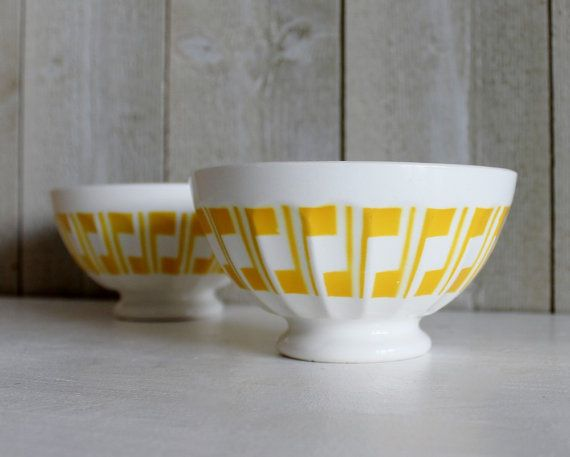 Sarreguemines Yellow White Pattern Cafe Au Lait Coffee Bowls Set Of 2 French Kitchen Vintage By Ohlalacamille On Gourmly