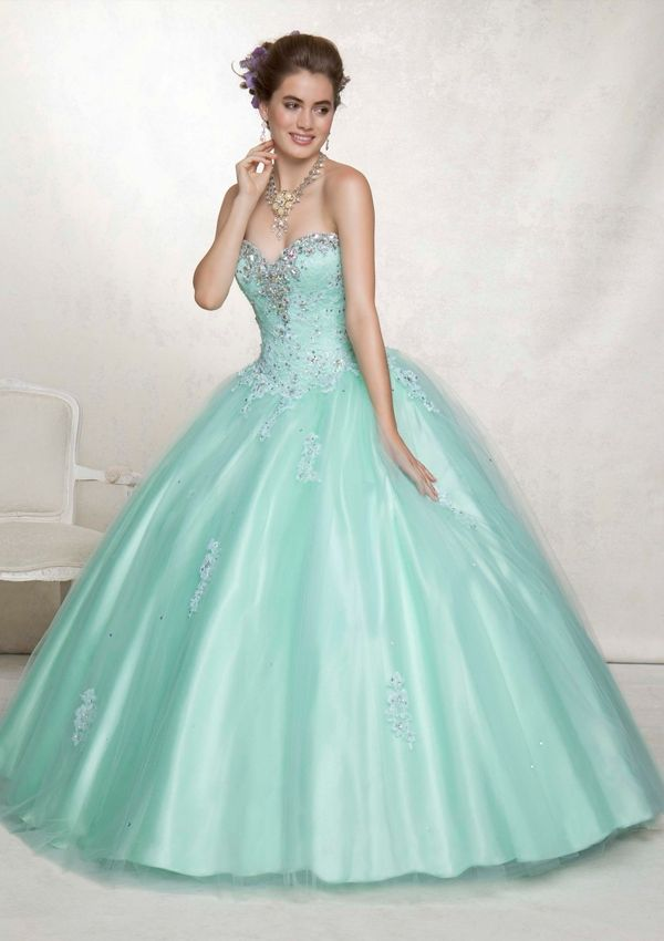 Long strapless pastel teal green evening dress with sweetheart ...