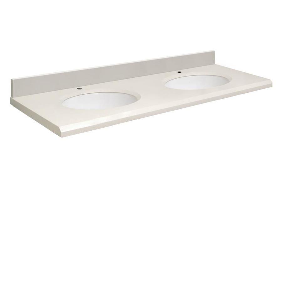 Transolid Milan White Quartz Undermount Double Sink Bathroom