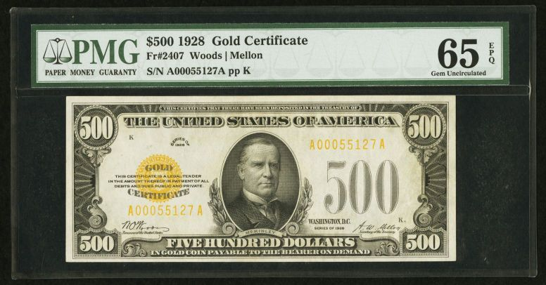 Small Sizegold Certificates Fr 2407 500 1928 Gold Certificate