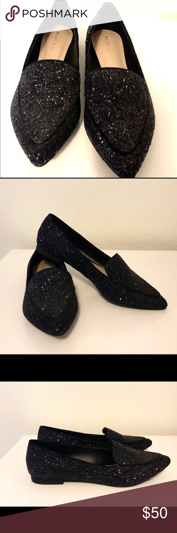 5bd7e838f5d Kelly & Katie Flats Black sparkly pointed-toe flats (never been worn ...