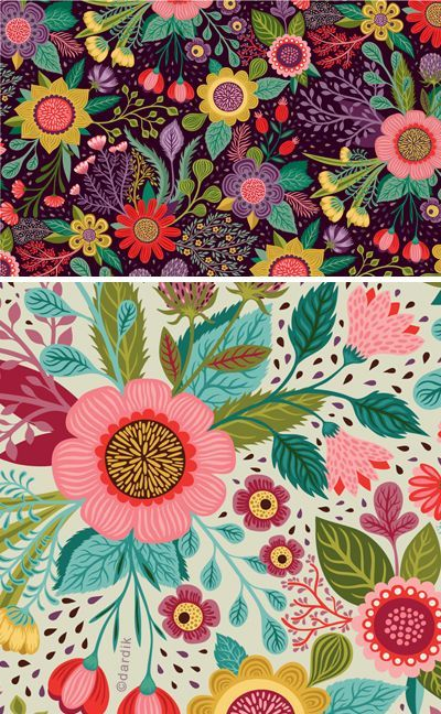 green, warm and the botanical fantasy . . . By Helen Dardik | Find fun fabrics for your next project www.myfabricdesigns.com #flowerpatterndesign