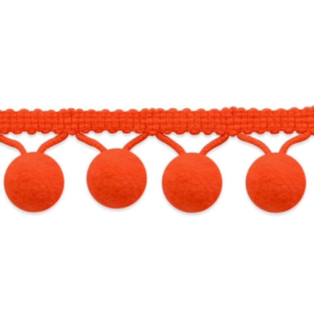 "Pom Pom Fringe Trim Ball  5/8"" X 5 Yards ORANGE Lolita   Ribbon Crafting Sewing #Unbranded"