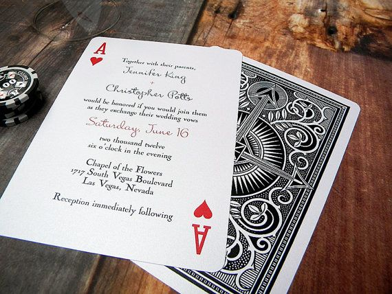 Ace of Hearts Wedding Invitation Playing Card Vegas Wedding – Playing Card Invitation