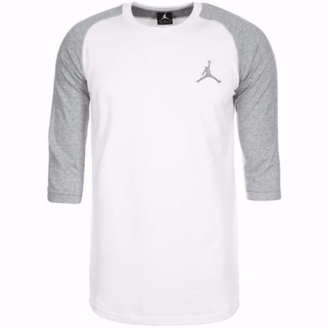 9a3e1dec02e9 Nike Jordan 3 4 Raglan Sleeve Jumpman T-Shirt Mens 3XL Crewneck White Gray