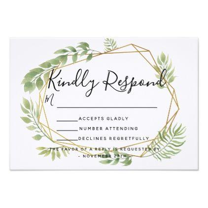 Crystal wedding foliage invite RSVP reply card Rsvp, Crystal