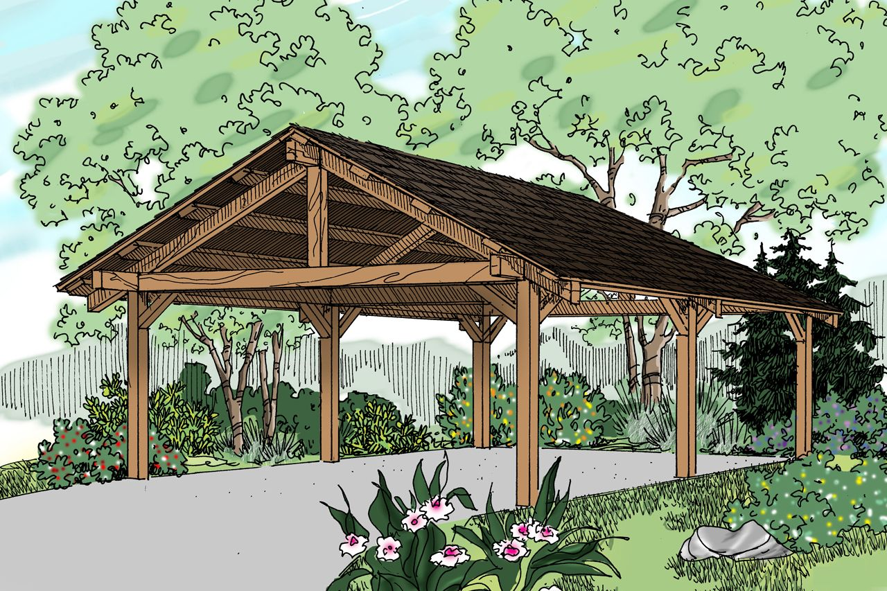Traditional carport can house 2 cars and has an 8 clearance to the – Detached Garage Plans With Carport